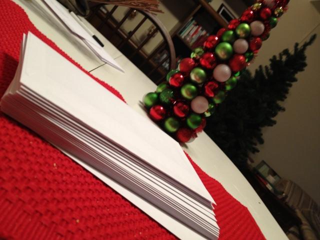 christmas card pile