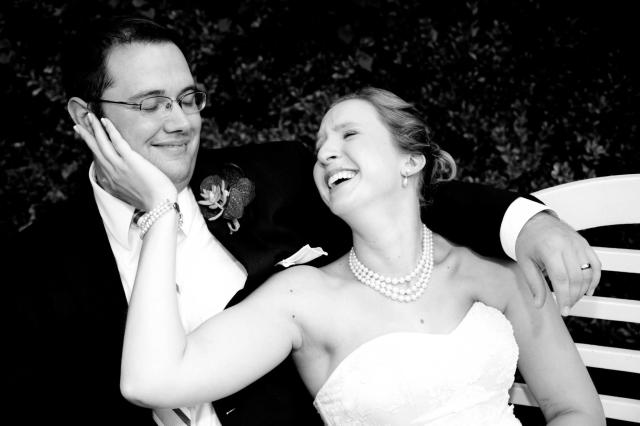 wedding photo bw laugh