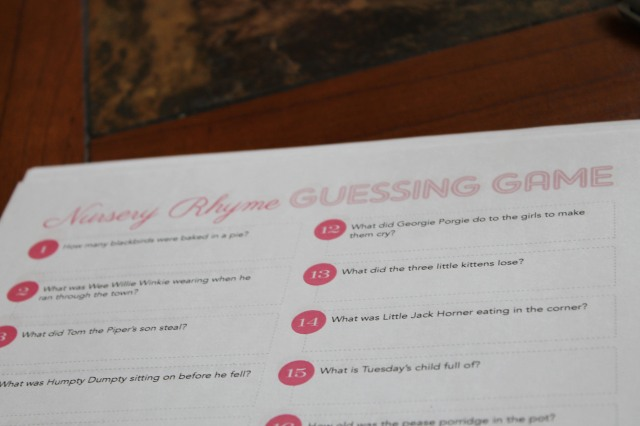 nursery ryhme guessing game